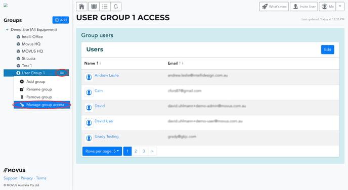 Edit User Group